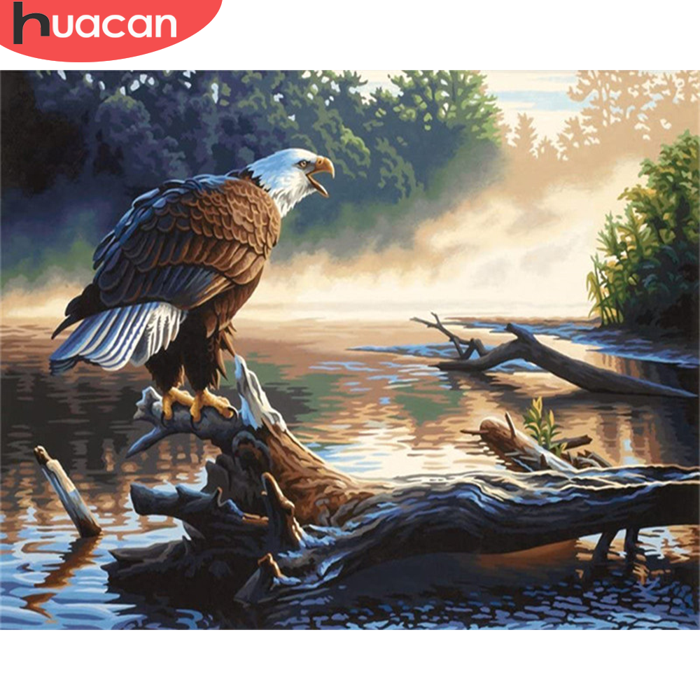HUACAN Paint By Number Eagle DIY Pictures By Numbers Animal Kits Hand Painted Painting Art Drawing On Canvas Gift Home Decor