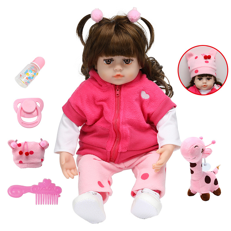 48CM Baby Reborn Doll Silicone Reborn Baby Doll Adorable Lifelike Toddler Bonecas Girl Menina Doll Toys For Kids Birthday Gift