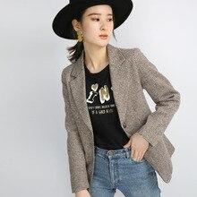 2019 New Style High Quality Women Plaid Blazer Coat Outwear