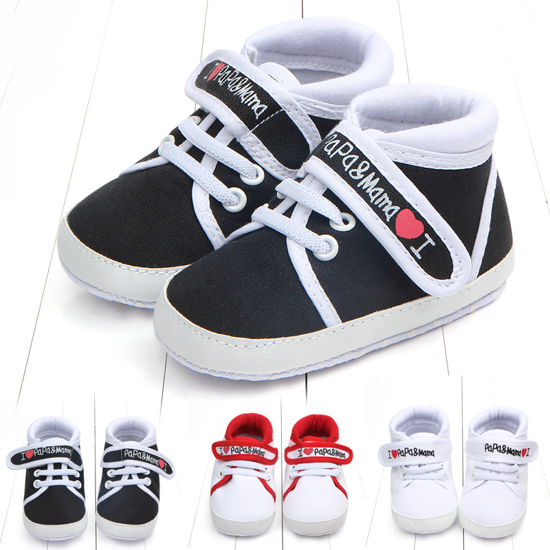 Fashion Baby Infant Kid Boy Girl Shoes Soft Sole Canvas Sneaker Toddler Shoes Baby Girl Walking Shoes I Love Papa&mama 0-18M