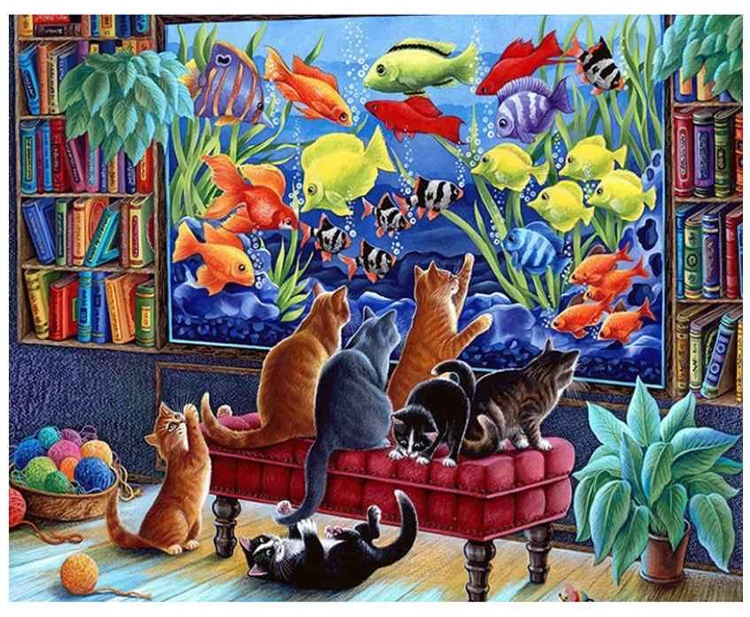 Manzara elmas boyama kediler balık elmas nakış tam taklidi mozaik çizim resim dekor çocuk oyuncak hediye yeni varış