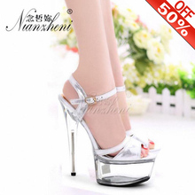 15cm High-Heeled Sandals Silver Bride Wedding Shoes Platform Steel Pipe Dance Shoes 6 inch Sexy Fashion Summer Classic Shoes sexy fashion models to shoot steel pipe shoes shoe stage shows black high heeled shoes bride wedding sandals