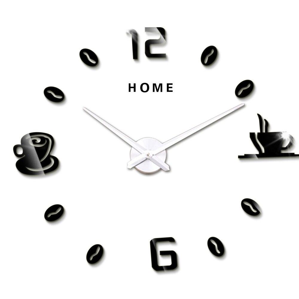 Horloge Murale 3 D Noir FLEXISTYLE Tasse Temps pour caf/é Moderne de Cuisine