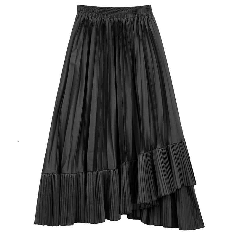 Винтажные длинные юбки с высокой эластичной талией, осенняя Асимметричная черная плиссированная юбка с оборками, Женская плиссированная юбка в британском стиле ретро-шик