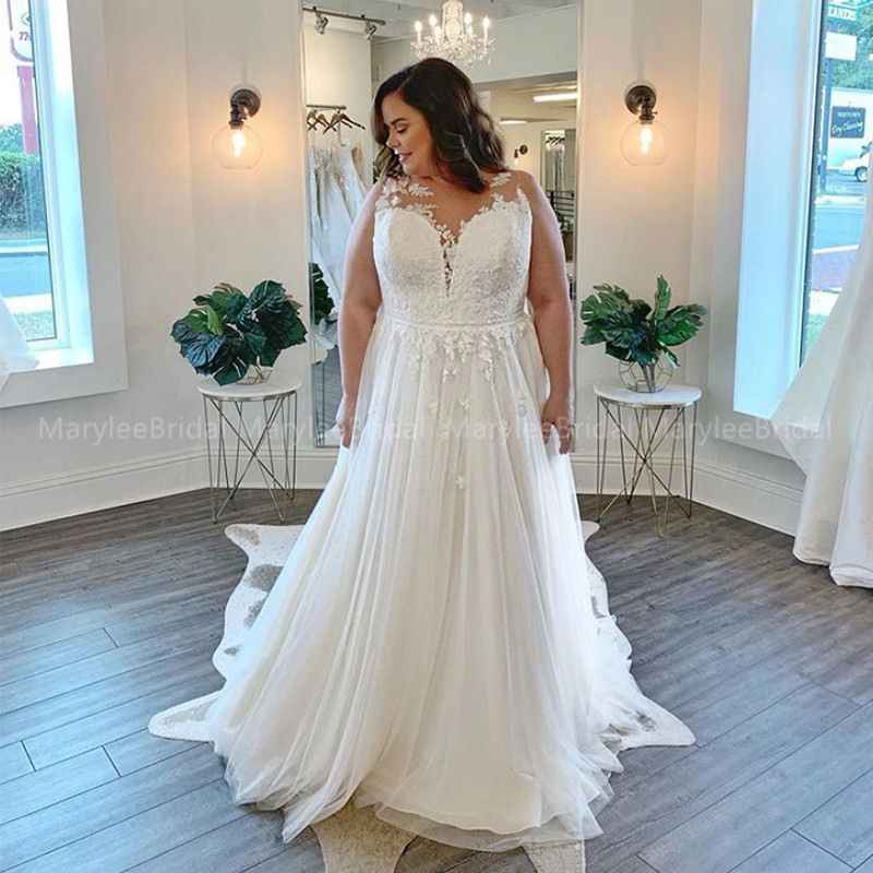 White Ivory Plus Size Wedding Dress Sheer Neck Sleeveless Vestido De Noiva Boho Bridal Dress Beach Robe De Mariage Custom Made