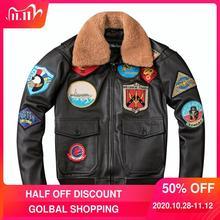 2020 Brown Men TOP GUN Pilot Leather Jacket Wool Collar Plus Size XXXL Genuine Cowhide Winter Russian Aviator Coat FREE SHIPPING