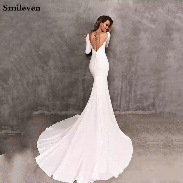 Smileven Mermaid Wedding Dresses Long Sleeve Elegant Boho Satin Bride Dress Wedding Gowns 2020 Vestido De Noiva 2