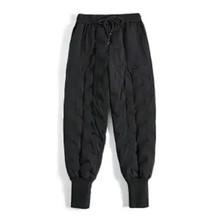 Fleece Trousers Down-Pants High-Waist-Down Elastic Skinny Sports Woman Warm Winter 023