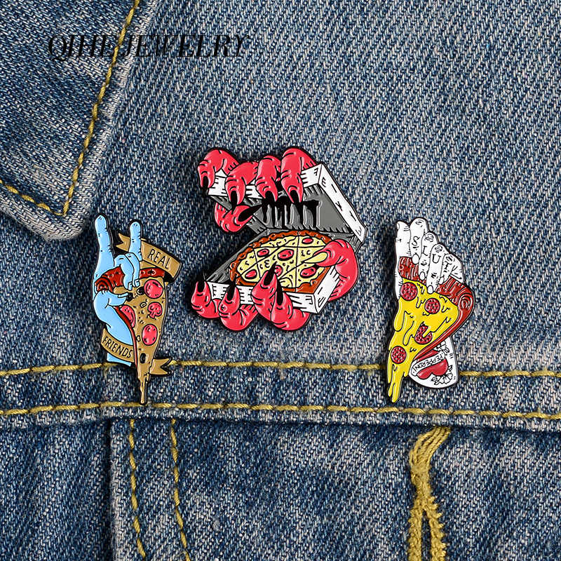 Qihe Perhiasan Setan Tangan Pizza Pin Teman Sejati Enamel Punk Keren Bros Lencana Denim Pakaian Tas Pin Hadiah untuk teman