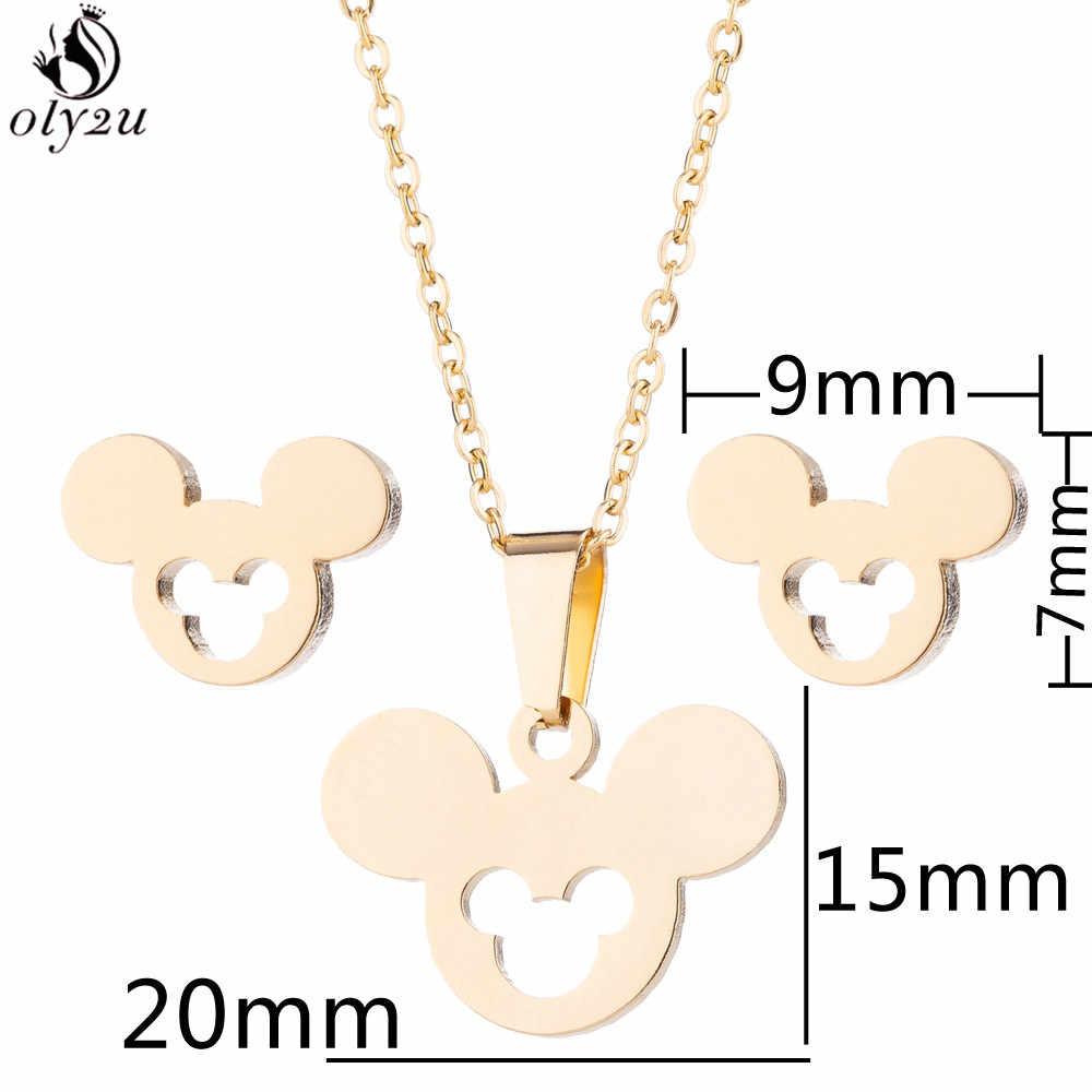 Oly2u acier inoxydable Mickey collier femmes Bijoux ensembles Bijoux Animal papillon colliers pendentifs mignon boucles d'oreilles enfants cadeaux
