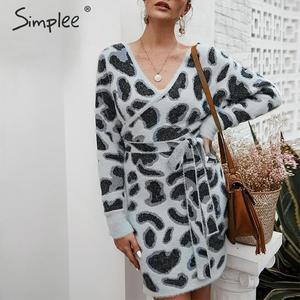 Image 5 - Simplee 여성 레오파드 니트 드레스 긴 소매 v 목 bodycon 스웨터 드레스 streetwear 사무실 레이디 벨트 가을 겨울 드레스