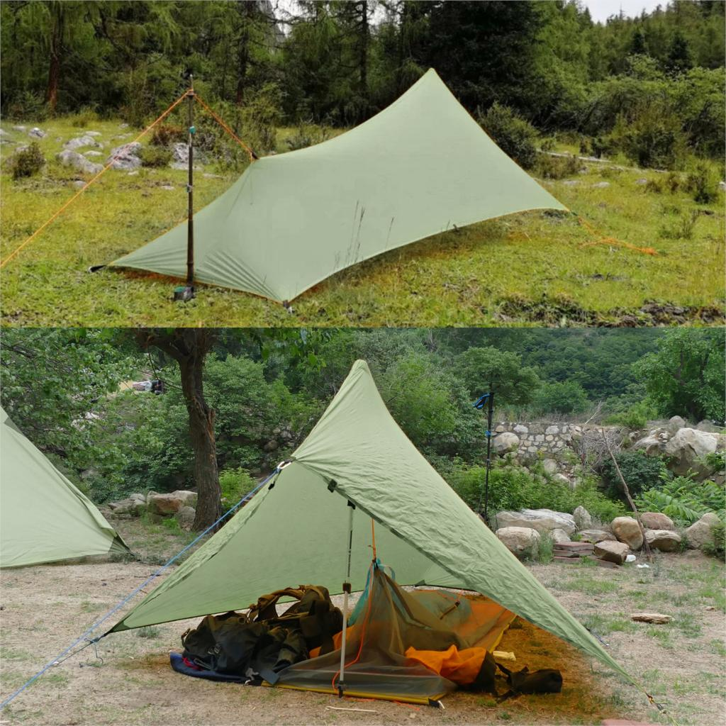 Ultralight 310g Flysheet Tent Waterproof 20D Double Sided Silicone Coating Nylon Camping Shelter Canopy Rainfly Lightweight Tarp