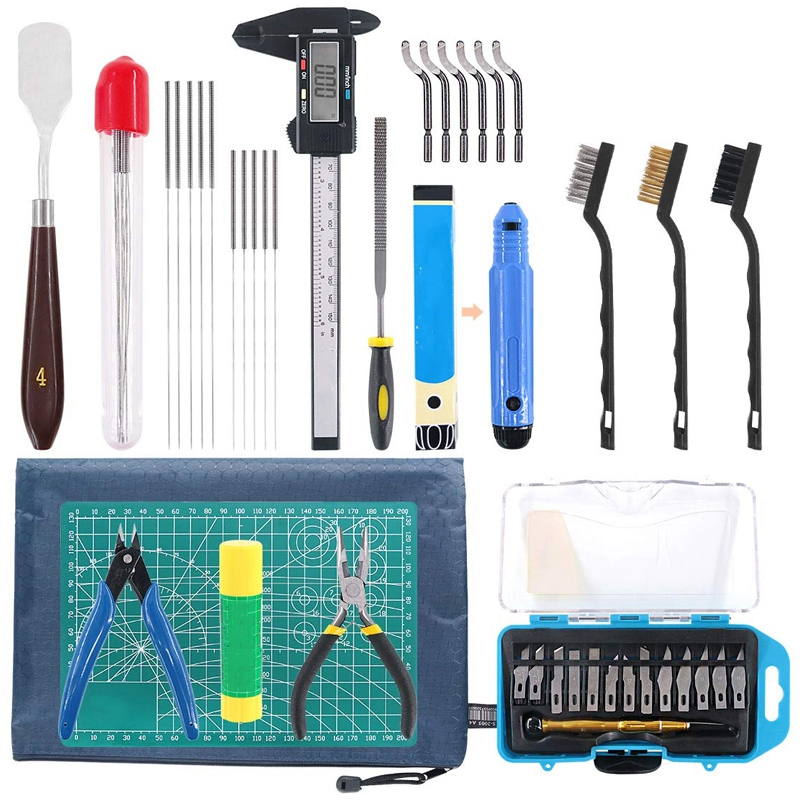 42 Piece 3D Print Tool Kit Includes Debur Tool Cleaning and Removal Tool with Storage Bag 3D Printer Tool Set for Cleaning Fi