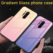 Simple Gradient Phone Case for Oneplus 8 Pro Coque Tempered Glass Back Cover for Oneplus 8 7 7T 6 6T TPU Frame Protective Fundas for oneplus 6t case luxury robot hard back phone case for oneplus 6t 6 t back cover for oneplus 6t coque fundas
