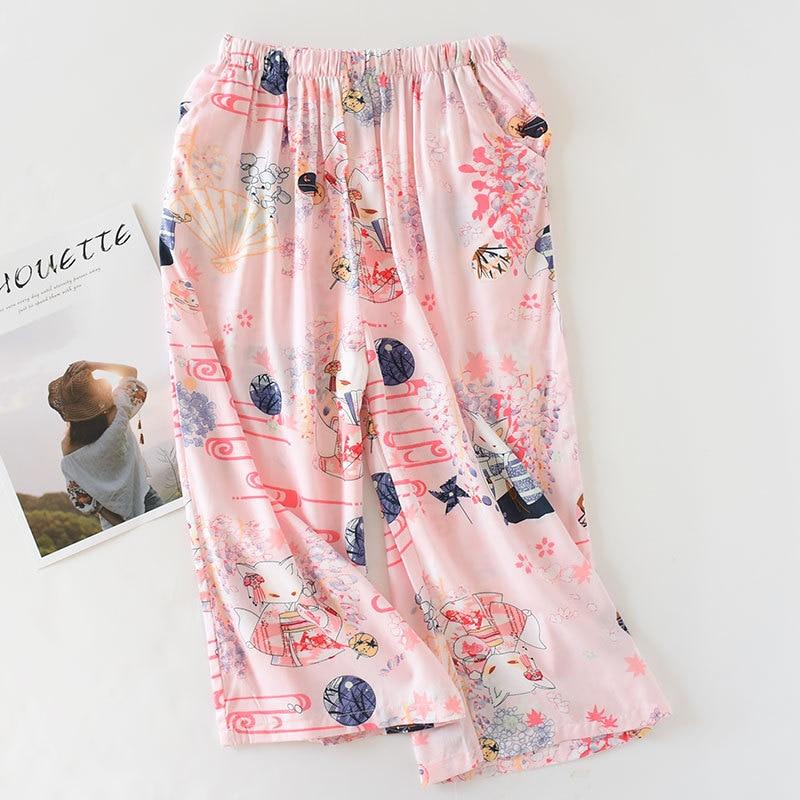 Spring And Summer Artificial Cotton Home Pants Women's Thin Wide-Leg Capri Pants-Outer Wear Pure Cotton Bourette Casual Anti-mos