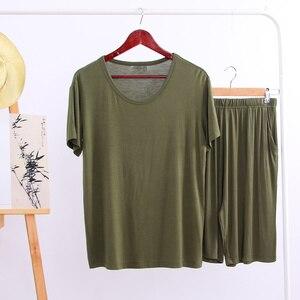 Image 2 - Summer Modal Pajama Sets Thin Short Sleeve T shirt Shorts Sleepwear Mens Casual Set 2 Piece V Neck Solid Color Home Clothing