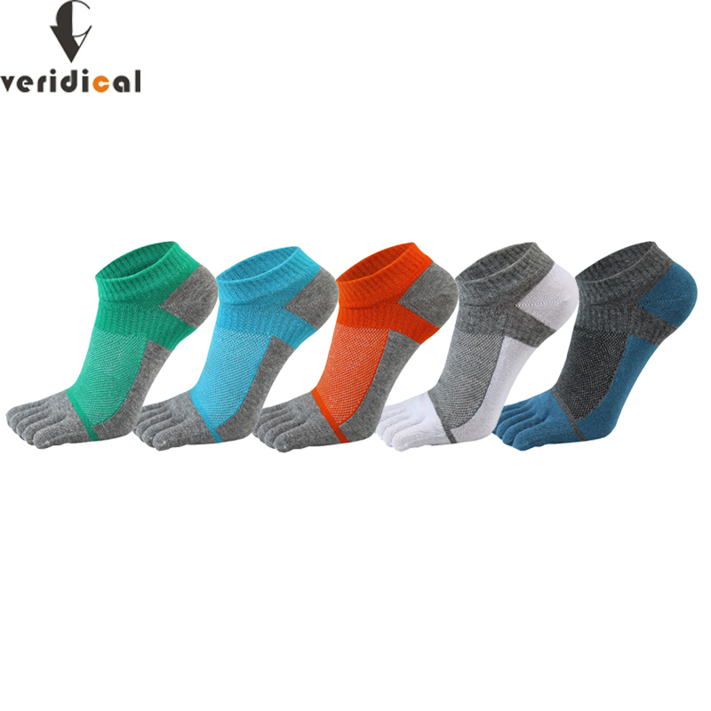 VERIDICAL Pure Cotton Five Finger Socks Mens Sports Breathable Comfortable Shaping Anti Friction Men's Socks With Toes EU 38 44