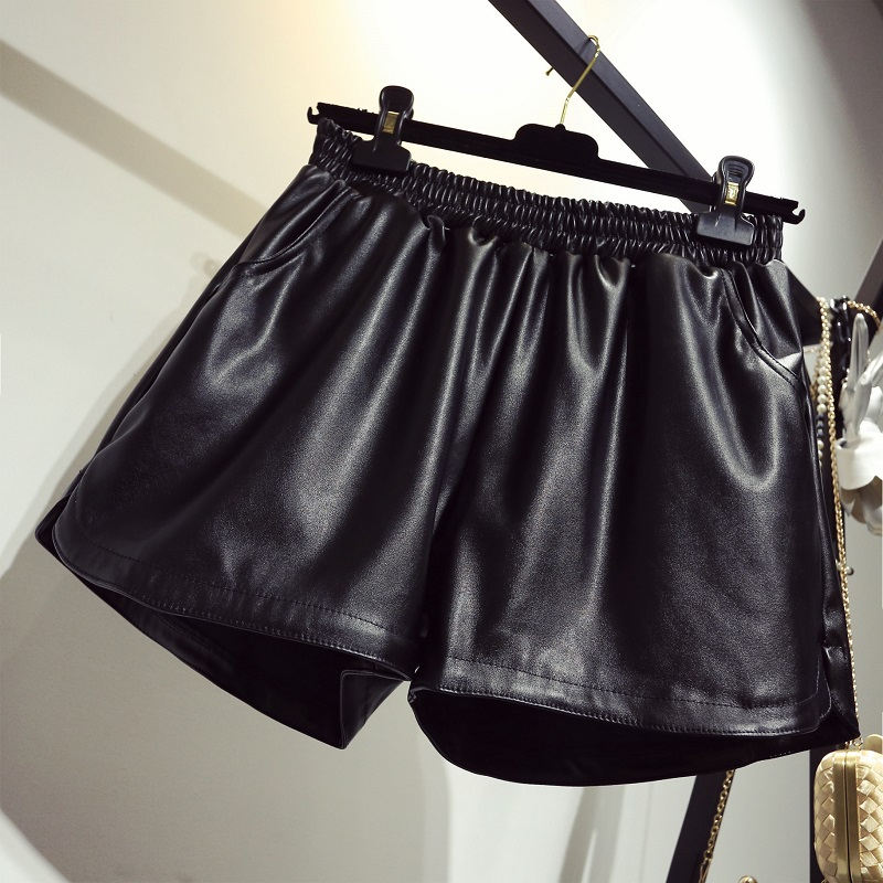 Wide-legged Pu Leather Shorts Women Plus Size Autumn Winter   High Waist Pu  Shorts  Female Black  Gray Faux Leather Shorts  4xl