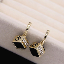 New Geometric Square Short Earrings Digital 5 Fashion  jewelry trendy earrings for women chandelier