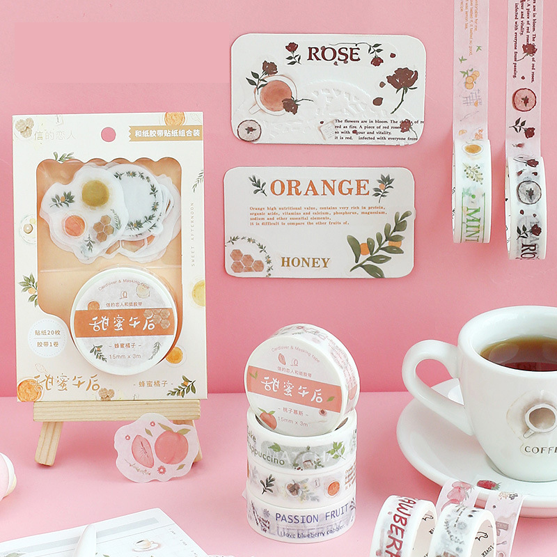 Mohamm Sweet Teabreak Series Color Washi Masking Tape Release Paper Stickers Scrapbooking Stationery Decorative Tape