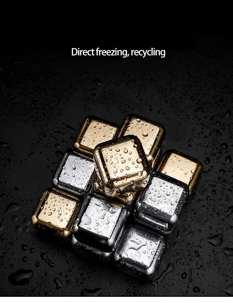 Wristwatch - Stainless Steel 304 Stones Ice Cubes Quick Frozen Ice Cubes Whiskey Cooler Rocks 4/6/8pcs Metal Ice Tools With Plastic Box