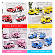Hot Wheels Sound Light Pull Back Alloy Car Model To The Future Voice Flash Toy Classic Cars Taxi Bus School