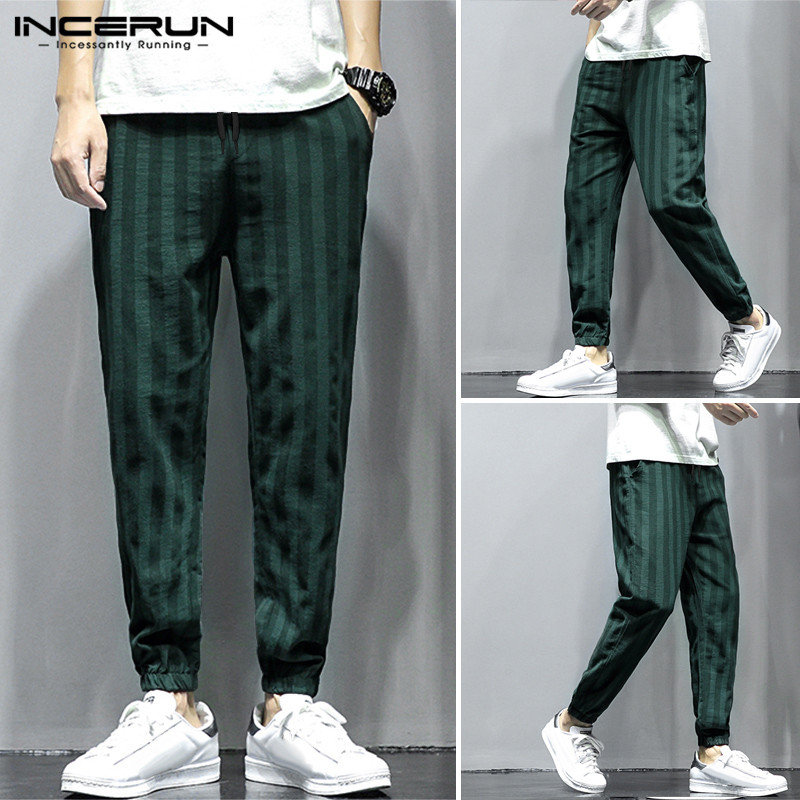 INCERUN Men Personality Striped Cotton Lacing Pant Straight Leg Baggy Streetwear Cool Boy Casual Elastic Waist Joggers Sweatpant