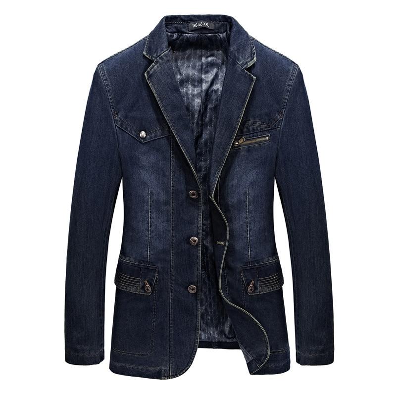 Mens Blazers Jackets Men's Spring Autumn Fashion Denim Jackets Causal Cowboy Blazers Washed Slim Jean Jacket Coat Male Clothes