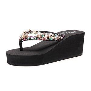 Image 1 - Роскошные шлепанцы со стразами; Шлепанцы; Праздничная пляжная обувь; Босоножки на платформе для женщин; Размеры 33 42