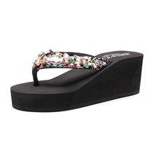 Luxury Rhinestones Diamond Flip Flops Sandals Slippers Holidays Beach Shoes Wedge Platform Sandal Women Size 33 42