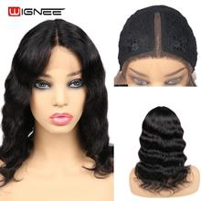 Wignee Short Wavy Human Hair Wigs For Black/White Women Tuneful Hair Glueless Remy Brazilian Real Human Wigs Fast Free Shipping цена 2017