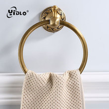 Antique Carving Space Aluminum Bronze Towel Ring Brushed Towel Holder Towel Rack Wall Mounted Bathroom Accessories D10 new luxury wall mounted antique carving white
