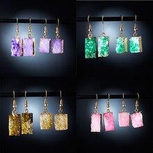 Корейский, геометрической формы, квадратный камень, смола, серьги друзы, длинные висячие серьги для женщин, ювелирное изделие, массивные подарки, аксессуары Brinco