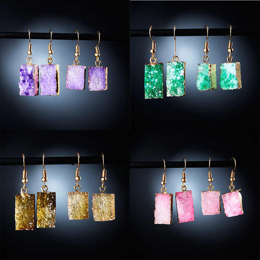 Korea Geometris Persegi Batu Resin Druzy Anting-Anting Panjang Drop Earrings untuk Wanita Perhiasan Laporan Hadiah Aksesoris Brinco