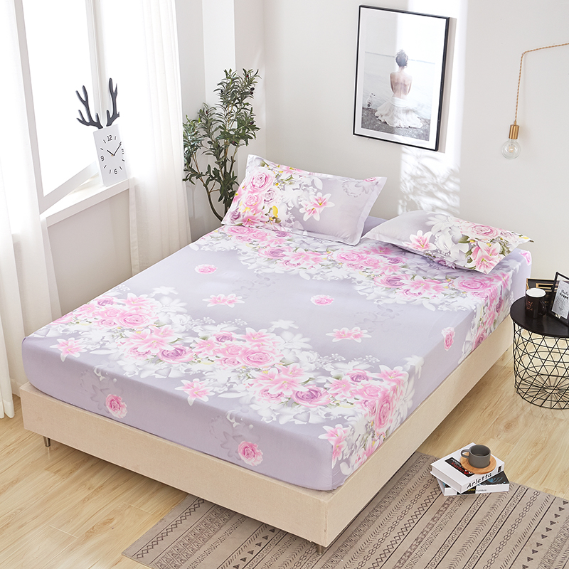 Purple Rose Flower Sea Printed Fitted Sheet 1pc Mattress Cover with Elastic Band Bed Sheet 150*200cm <font><b>180*200</b></font> 180*220cm 200*220cm image