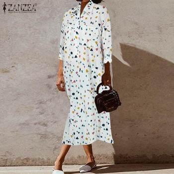 Plus Size Women's Printed Shirt Dress ZANZEA 2020 Fashion Long Sleeve Midi Sundress Spring Casual Vestidos Female Button Robe plus size half button pinstripe shirt dress
