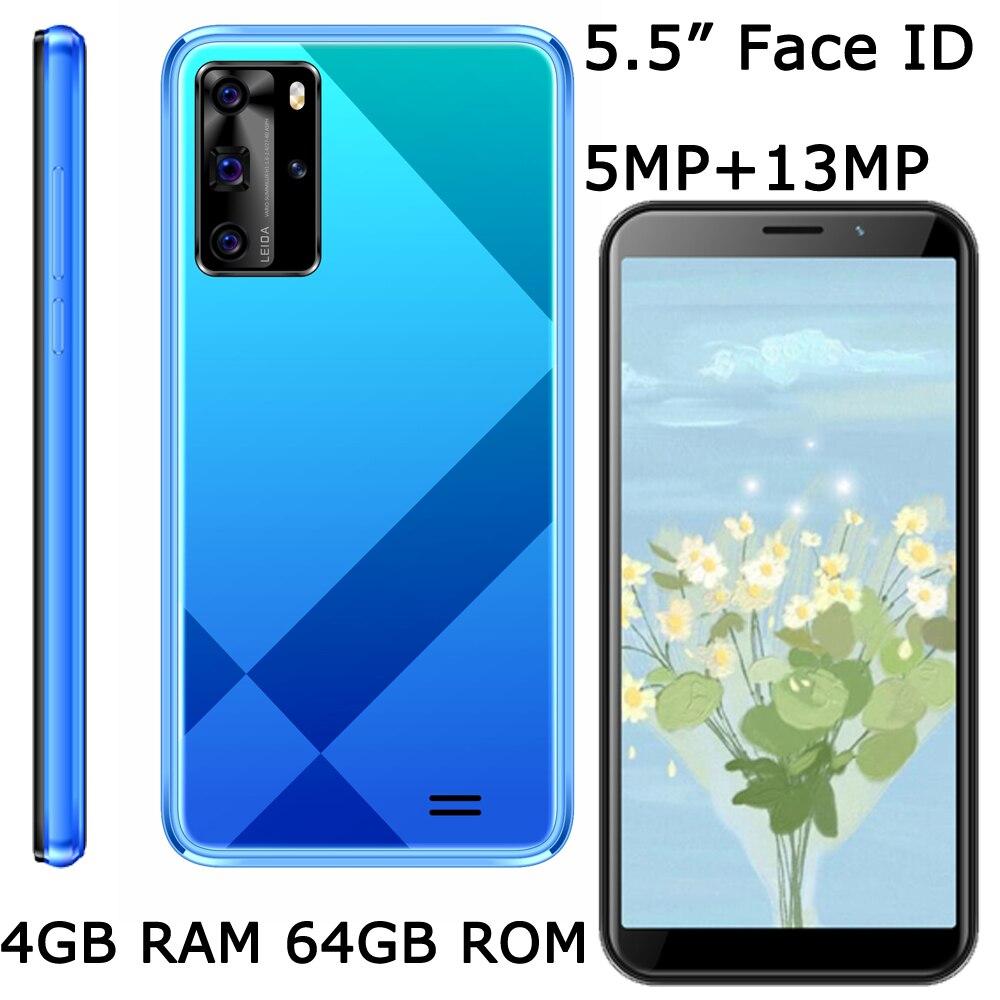 """9X Version mondiale originale 5MP + 13MP 4G RAM 64G ROM caméra avant/arrière téléphones mobiles Wifi Smartphones Face ID 5.5 """"écran débloqué"""