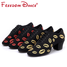 лучшая цена New Arrival Women's Ballroom Dance Shoes Teaching Shoe Oxford Cloth 5cm Middle Heel Soft Breathable Girls Tango Latin Dance Shoe
