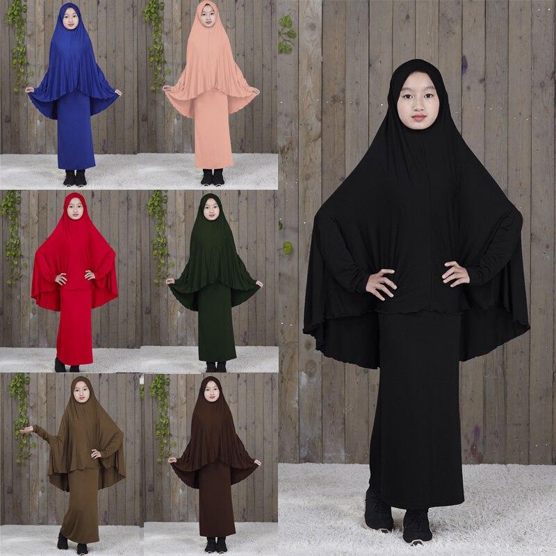 Islamic Clothing Kids Muslim Dress Abaya Kaftan Arab Middle Eastern Turkey Dubai Teen Girl Simple Dresses Two-Piece Suit Prayer