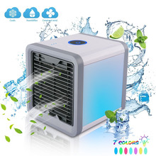 Mini Portable Air Cooler Air Conditioner 7 Colors LED USB Personal Space Cooler Fan Air Cooling Fan Rechargeable Fan Desk