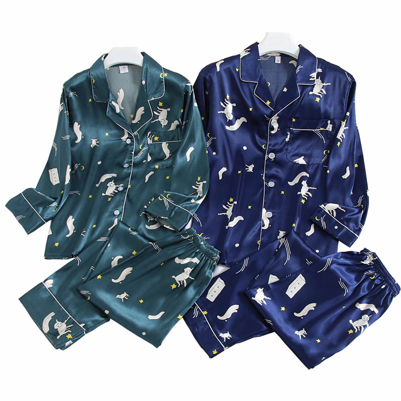 2019 Autumn New Lovers Pajamas Set  Women And Men Silk Satin Cute Sheep Printed Sleepwear Couples Spring Homewear Casual Wear