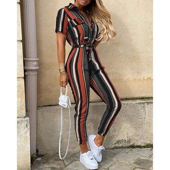 цена STYLISH LADY Elegant Striped Printed Jumpsuits 2020 Summer Women Short Sleeve Turn Down Collar Front Button Office Lady Overalls онлайн в 2017 году