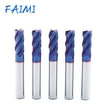 Carboneto contínuo fresa hrc70 altisin cnc fresa azul nano revestimento 4 flautas usinagem de aço tungstênio fresa bit