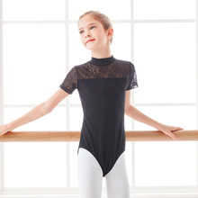 Kids Ballet Gymnastic Dance Bodysuit Leotards Girls Lace Splice Costumes Children Stand Collar Leotard