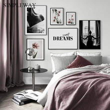 Scandinavian Pink Tulipe Flower Canvas Painting Fashion Poster Nordic Botanical Floral Print Wall Art Picture Modern Home Decor
