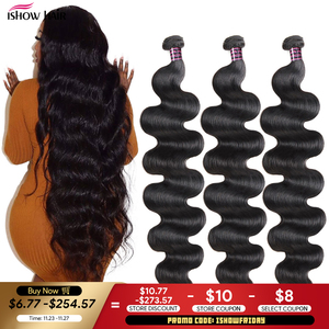 Ishow Body Wave Bundles 30 32 34 36 38 40 Inch Brazilian Hair Weave Bundles 100% Human Hair Bundles Virgin Hair Weave Extensions