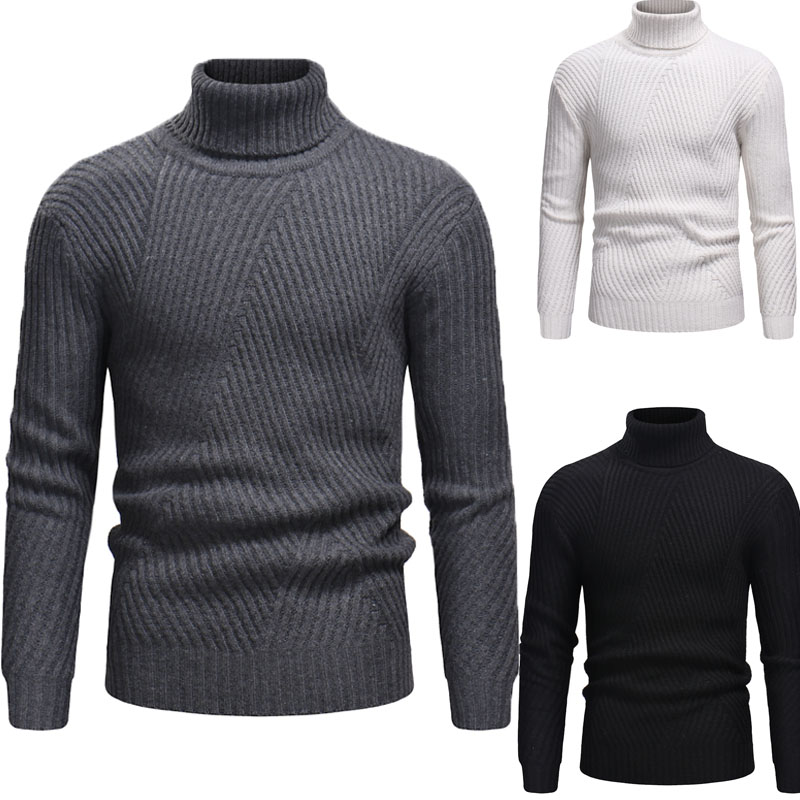 Brand Turtleneck Sweater Men 2019 Winter Fashion Solid Color Slim Knitted Pullover Elastic Hip Hop Warm Men Clothing Black