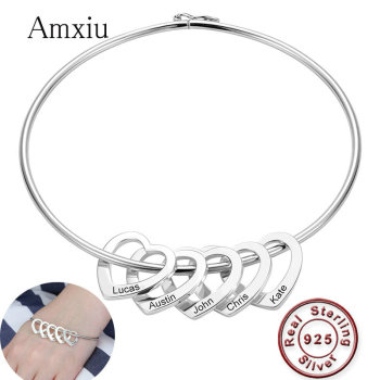 Amxiu Personalized 925 Sterling Silver Bangle Heart Pendants Bangles Custom Name Bracelet Bangles for Women Engrave Name Jewelry men women personalize engrave name image stretch bracelet with elastic stainless steel band custom bangles unisex jewelry