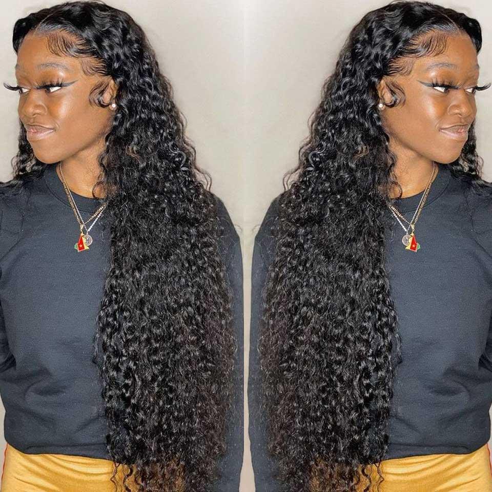 Perruque Lace Frontal Wig brésilienne Remy, cheveux naturels bouclés, Deep Wave T Part, Lace Transparent Hd, cheveux humains