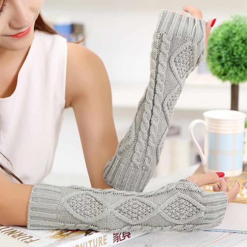 Autumn And Winter Women's Wool Knit Diamond Sleeves Half Finger Long Paragraph 30cm Warm Mitt Gloves